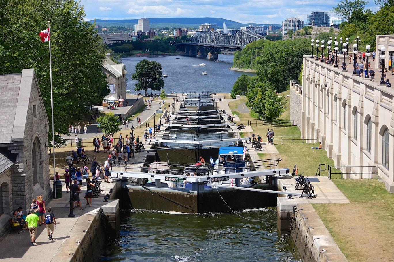 Rideau Canal and Lockstation in Ottawa